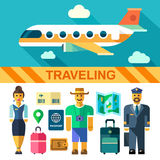 Color vector flat icon set and illustrations travel by plane. Flying plane, pilot, flight attendant, tourist, luggage, bags, passport, boarding pass, map Stock Photos