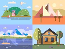 Color vector flat icon set and illustrations urban and village landscapes nature, mountains, lake, boating, vacation Stock Photos