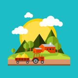 Color vector flat illustrations village landscapes Royalty Free Stock Images