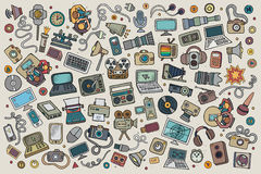 Color vector hand drawn Doodle set equipment and Stock Images