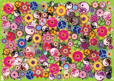 Color vector hippies background with flowes and symbols. Rough retro background Royalty Free Stock Photo