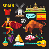 Color vector icons and illustrations of Spain. Color vector flat icon set and illustrations Spain Stock Image