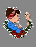 Color vector illustration for printing on T-shirts. Beautiful girl shows a fist in protest. Design sticker portrait of a girl in v. Intage style with flower royalty free illustration