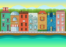Color vector illustrations urban landscapes, downtown Royalty Free Stock Photos