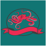 Color vector images of red octopus. EPS10 Royalty Free Stock Image