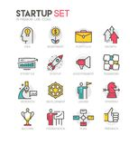Color vector line icons set of startup. And project planning process. Modern flat linear pictogram concept. Premium quality outline symbol collection. Simple Stock Images