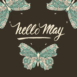 Color vector postcard with unique script brush lettering. Hello May. Color vector postcard with unique script brush lettering with blue butterflies. Hello May Royalty Free Stock Image