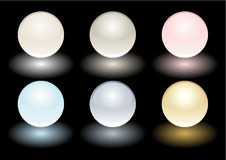 Color vector realistic pearls isolated on black Royalty Free Stock Images