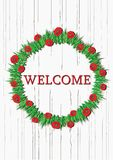 Color vector red poppies wreath with welcome notice. Color vector summer red poppies wreath with welcome notice. Round floral frame. Flowers wreath hanging on Stock Image