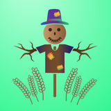 Color vector scarecrow in the field of grain. Eps10 Stock Images