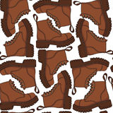 Color vector seamless pattern with brown boots. Color vector seamless pattern with brown boots Stock Image