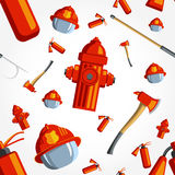 Color vector seamless pattern firefighter. Equipment. Flat icon background Royalty Free Stock Photos