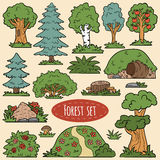 Color vector set of forest items. Trees and bushes Stock Photo