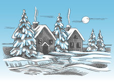 Color vector sketch of the winter landscape. Two rural houses and trees Stock Images
