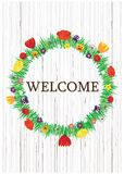 Bright vector welcome spring flowers wreath on wooden background. Color vector spring and summer flowers wreath with welcome notice. Flowers wreath isolated on Royalty Free Stock Image