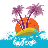 Color vector symbol of tropical island with palms  Royalty Free Stock Photography