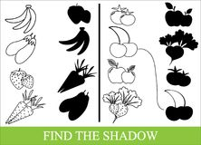 Color vegetables, fruits and berries and find the correct shadow. Kid's game Stock Image