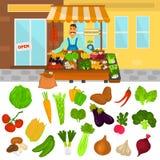 Color vegetables icons set. Vegetables shop color illustartion for web and mobile design Stock Photos