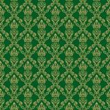 Color verde del papel pintado 1 inconsútil del damasco Imágenes de archivo libres de regalías