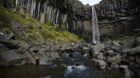 Svartifoss Video 1. Color video of Svartifoss in Iceland with no people in shot stock footage