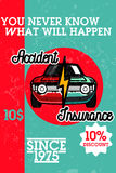 Color vintage accident insurance banner Royalty Free Stock Images