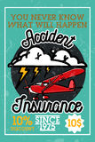 Color vintage accident insurance banner Royalty Free Stock Photo