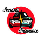 Color vintage accident insurance emblem Stock Photo