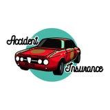 Color vintage accident insurance emblem Stock Images