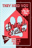 Color vintage animal shelter banner Royalty Free Stock Photos