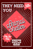 Color vintage animal shelter banner Royalty Free Stock Images