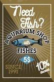Color vintage aquarium shop banner. Fish concept icons. Vector illustration, EPS 10 Stock Photo