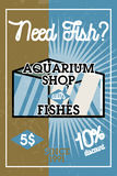 Color vintage aquarium shop banner. Fish concept icons. Vector illustration, EPS 10 Stock Images