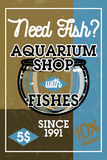 Color vintage aquarium shop banner. Fish concept icons. Vector illustration, EPS 10 Stock Photos