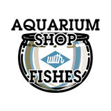 Color vintage aquarium shop emblem. Fish concept icon. Vector illustration, EPS 10 Royalty Free Stock Photos