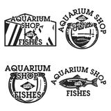 Color vintage aquarium shop emblems. Fish concept icons. Vector illustration, EPS 10 Royalty Free Stock Photo