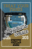 Color vintage aquariums service banner. Vector illustration, EPS 10 Royalty Free Stock Photography