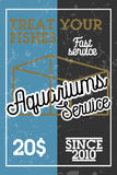 Color vintage aquariums service banner. Vector illustration, EPS 10 Royalty Free Stock Photos
