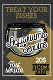 Color vintage aquariums service banner. Vector illustration, EPS 10 Royalty Free Stock Image