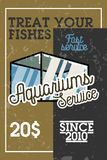 Color vintage aquariums service banner. Vector illustration, EPS 10 Stock Photos