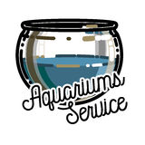 Color vintage aquariums service emblem. Label, badge and design elements. Vector illustration, EPS 10 Royalty Free Stock Photo