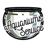 Color vintage aquariums service emblem. Label, badge and design elements. Vector illustration, EPS 10 Royalty Free Stock Photos