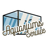 Color vintage aquariums service emblem. Label, badge and design elements. Vector illustration, EPS 10 Stock Images