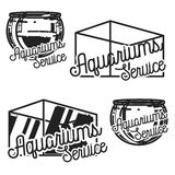 Color vintage aquariums service emblems Stock Images