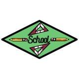 Color vintage back to school emblem Stock Photography