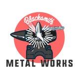 Color vintage Blacksmith emblem Stock Photos
