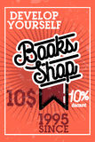 Color vintage books shop banner Stock Images