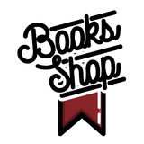 Color vintage books shop emblem Stock Photo