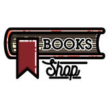 Color vintage books shop emblem Royalty Free Stock Photo