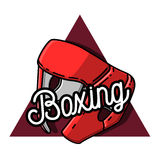 Color vintage Boxing emblem. Boxing logo template. Boxing club logotype. Boxing emblem, label, badge, t-shirt design, boxing fight theme Royalty Free Stock Image