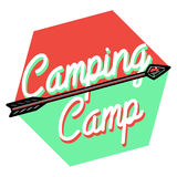 Color vintage Camping emblem Stock Photo